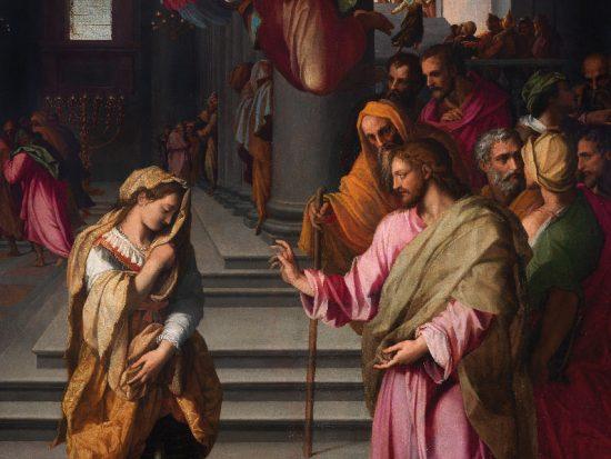 Alessandro Allori Cristo e l'adultera 1577